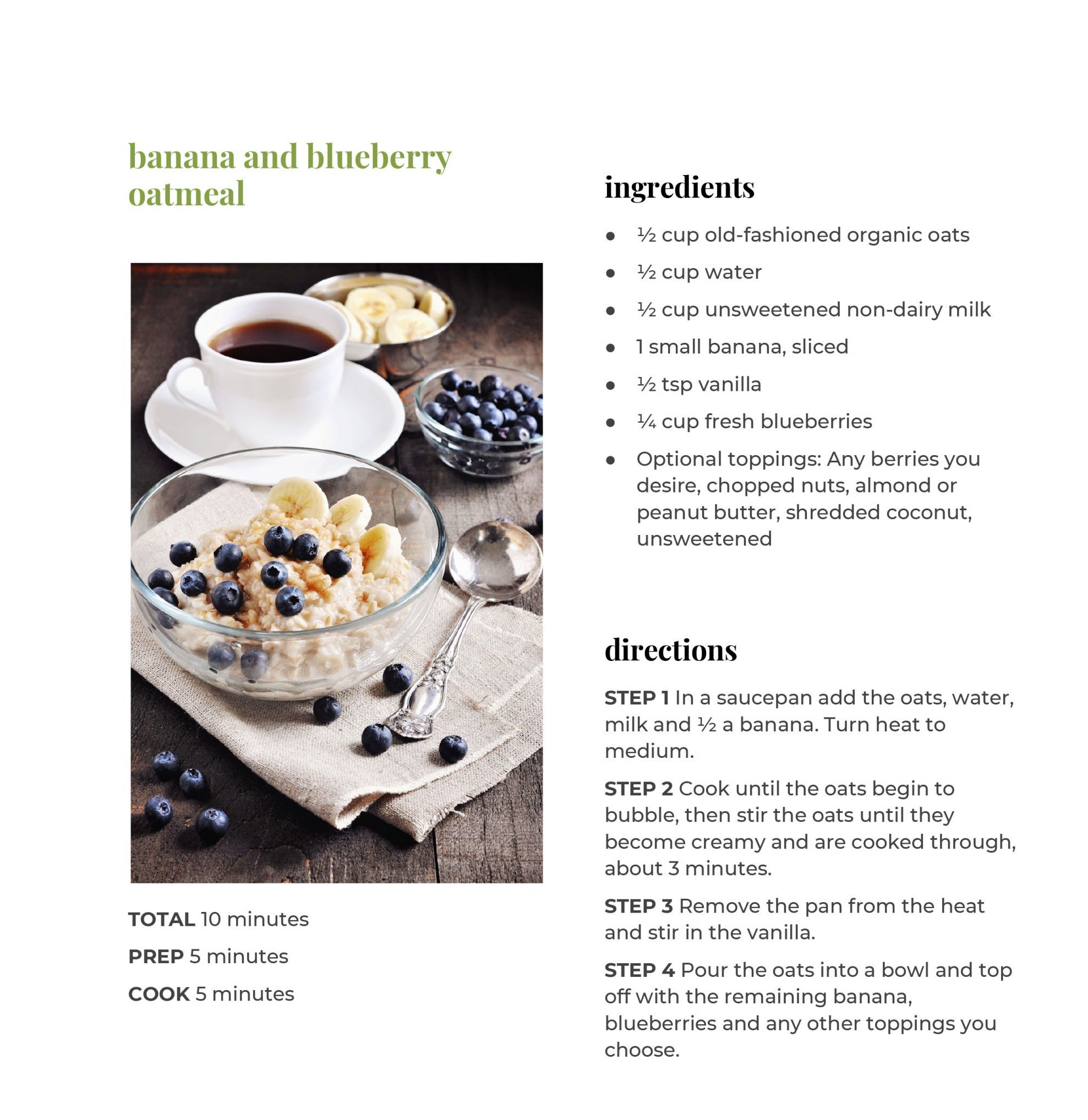 Banana and Blueberry Oatmeal Recipe